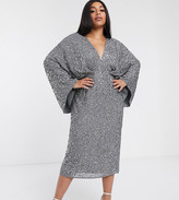 Edition EDITION Curve sequin kimono midi pencil dress-Gray