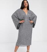 Asos Edition EDITION Curve sequin kimono midi pencil dress