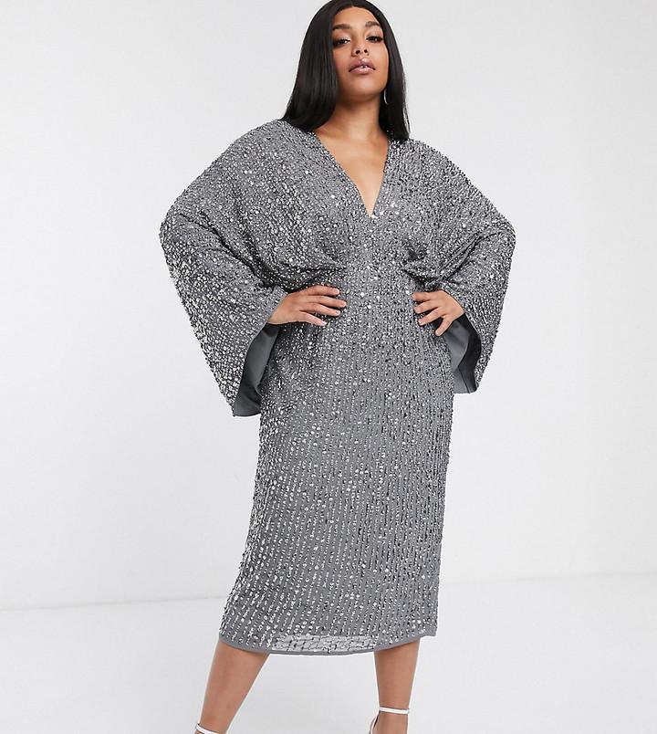 Asos Edition ASOS EDITION Curve sequin kimono midi pencil dress-Gray