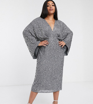 Asos Edition EDITION Curve sequin kimono midi pencil dress-Grey