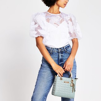 River Island Womens White organza floral puff sleeve top