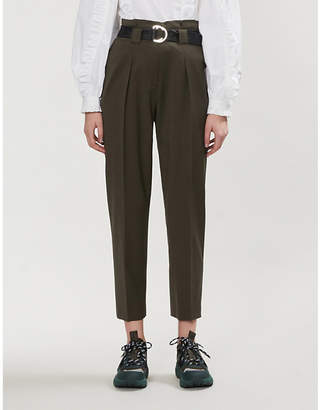 Claudie Pierlot Pipiouh tapered high-rise wool-blend twill trousers