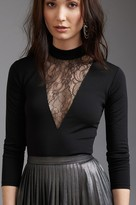 Dynamite Long Sleeve Mock Neck Top with Lace