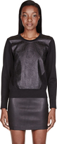 Helmut Lang Black Reptile Leather-Paneled Motion Sweatshirt