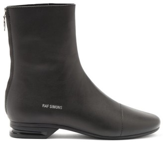 Raf Simons Notched-heel Zipped Leather Boots - Black
