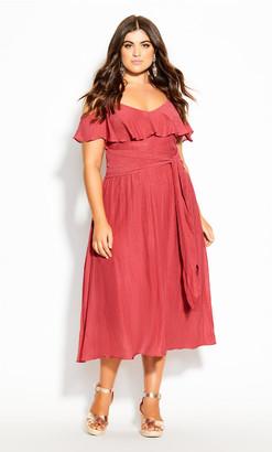 City Chic Romantic Tie Dress - raspberry