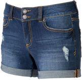 Mudd Juniors' FLX Stretch 2-Button Denim Midi Shorts