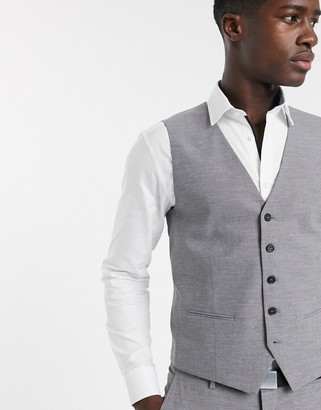 Selected skinny fit suit vest in gray