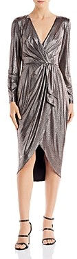 Aidan Mattox Metallic Draped Midi Dress