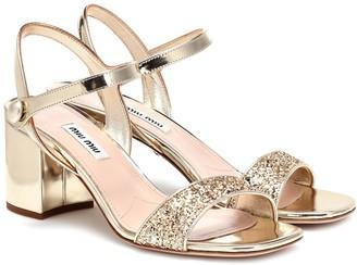 Miu Miu Exclusive to Mytheresa Glitter metallic leather sandals