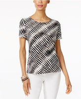 JM Collection Petite Printed Jacquard Top, Only at Macys'