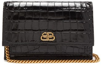 Balenciaga Sharp Xs Crocodile-embossed Leather Clutch - Black