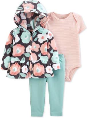 Carter's Carter Baby Girls 3-Pc. Floral-Print Fleece Hoodie, Striped Bodysuit & Leggings Set