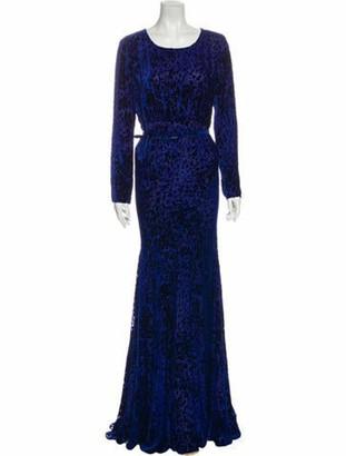 Oscar de la Renta Animal Print Long Dress w/ Tags Blue