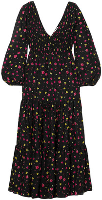 Rixo Lottie Shirred Floral-print Cotton And Silk-blend Midi Dress