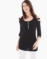 Chico's Double Cold-Shoulder Sweater in Black