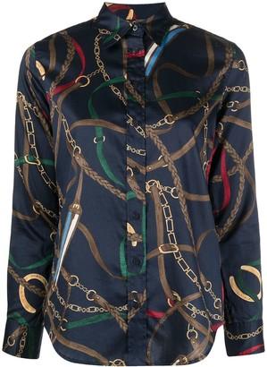 Lauren Ralph Lauren Strap Graphic Print Curved Hem Shirt