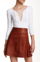 Free People Lace-Up Long Sleeve Ribbed Tee