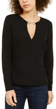 INC International Concepts Inc Plus Size Hardware-Neck Long-Sleeve Top, Created for Macy's