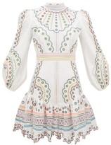 Zimmermann Peggy Embroidered Linen Mini Dress - Womens - Cream Print