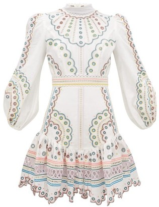 Zimmermann Peggy Embroidered Linen Mini Dress - Womens - Cream Print