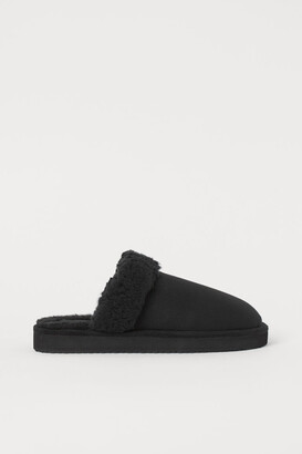 H&M Faux Fur-lined Slippers - Black