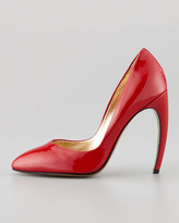 Walter Steiger Bowed-Heel Patent Leather Pump, Red