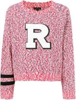 Rag & Bone speckled knit sweater with R appliqué