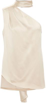 Halston One-shoulder Tie-neck Satin Top