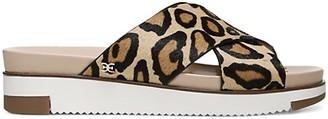 Sam Edelman Audrea Leopard-Print Crisscross Leather Slides