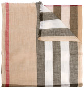 Burberry check print scarf - men - Linen/Flax/Cashmere - One Size