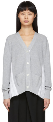 Sacai Grey Knit Pleats Cardigan