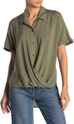 BCBGeneration Short Sleeve Wrap High/Low Woven Top