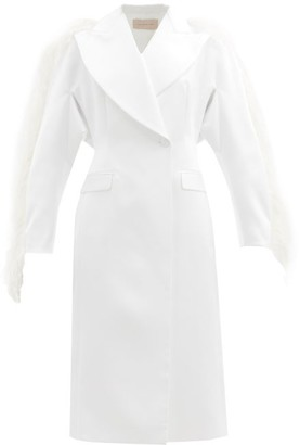 Christopher Kane Feather-trim Double-breasted Duchess-satin Coat - White