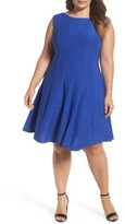 Gabby Skye Plus Size Women's Sleeveless Pintuck Fit & Flare Dress