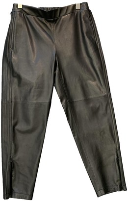 Hotel Particulier Black Leather Trousers for Women