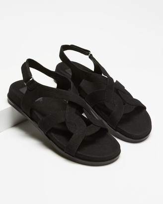 AERE - Women's Black Brogues & Loafers - Linen Footbed Sandals - Size 5 at The Iconic
