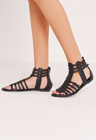 Missguided Strappy Flat Gladiator Sandals Black