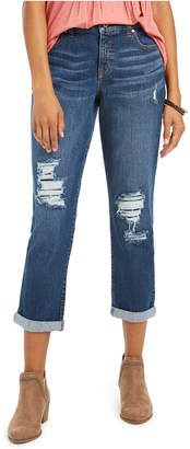Style&Co. Style & Co Curvy-Fit Ripped Girlfriend Jeans
