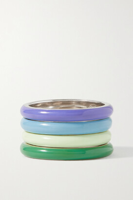 Fry Powers The Cool Set Unicorn Rainbow Set Of Four Silver And Enamel Rings - Blue