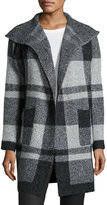 Metric Knits Plaid Open-Front Long Cardigan, Gray