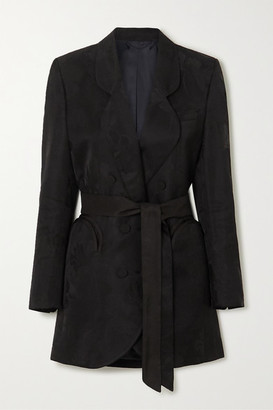 BLAZÉ MILANO Sunshine Belted Double-breasted Floral-jacquard Mini Dress - Black
