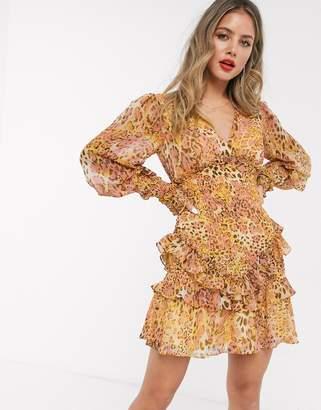 Bardot long sleeve shirred frill hem mini dress in mustard/blush leopard print
