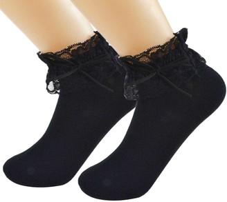 2 Pairs SYAYA Women Lace Ruffle Frilly Ankle Socks with Bowknot WWZ02 (black) - black - One Size