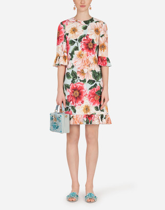 Dolce & Gabbana Short Camellia-Print Cady Dress With Ruffle Detailing