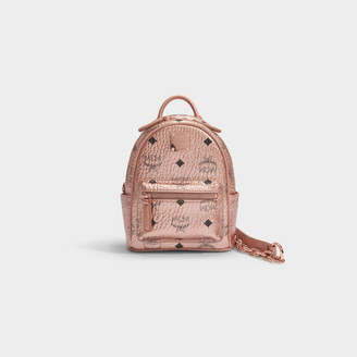MCM Stark Xmini Backpack In Champagne Visetos Monogrammed Coated Canvas