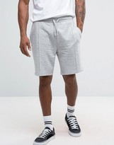 Asos Jersey Short With Pintuck Detail In Grey Marl