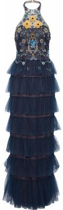 Marchesa Tiered Embellished Tulle Halterneck Gown