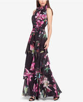 Tahari Tiered Floral-Print Gown