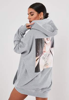 Missguided Grey Hooded Graphic Heaven Hell Sweater Dress